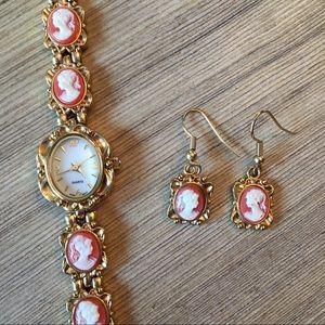 Faux Cameo Gold Tone Watch & Earrings Set